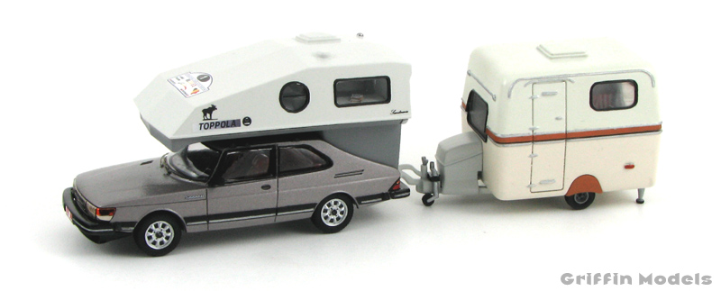 Saab 900 Toppola and Saabo caravan by Griffin Models